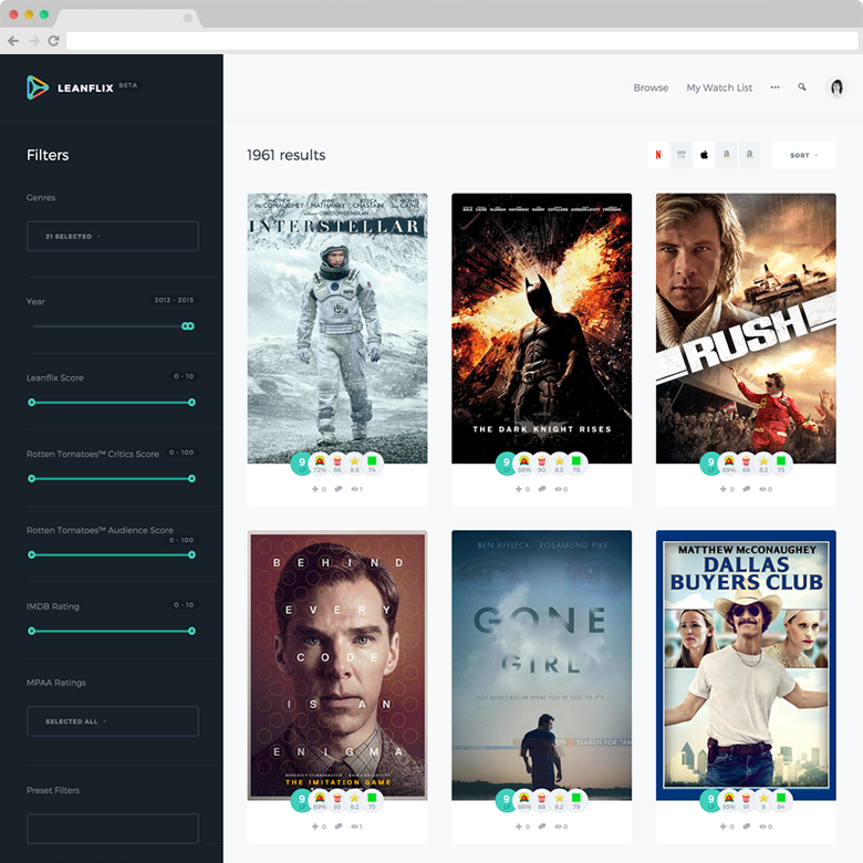 Find the best movies on Netflix, iTunes, Amazon and more | Leanflix